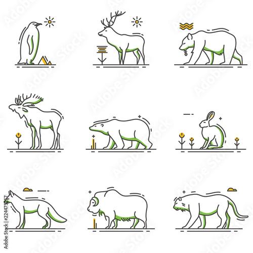 Winter Animals Cartoon in Outline Set - 224475257