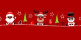 Banner Santa, Rudolph & Snowman Sunglasses Symbols Red