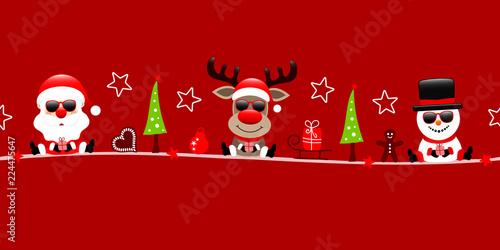 Banner Santa, Rudolph & Snowman Sunglasses Symbols Red - 224475647