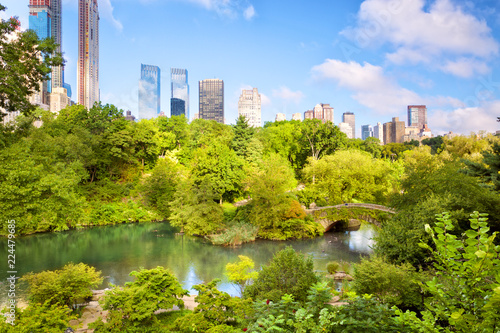 The Pond at Central Park with Manhattan skyline, New York
