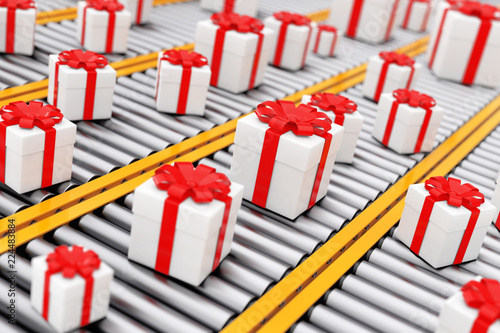 Many White Giftl Cardboard Boxes with Ribbon over Roller Conveyor Lines. 3d Rendering