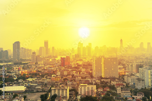 Leinwanddruck Bild Cityscape in sunrise, Bangkok Thailand