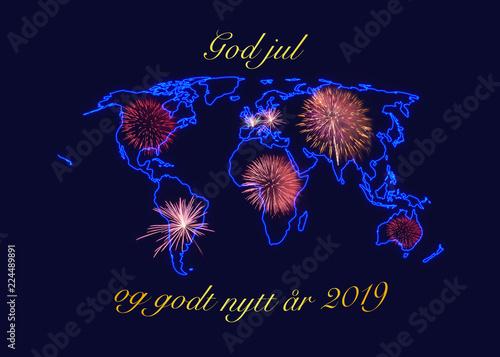 christmas and new year wishes in golden letters god jul og godt nytt r