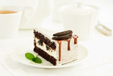 A piece of delicious caramel cake. - 224491085