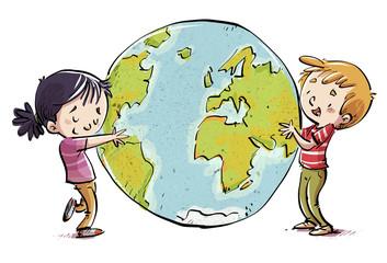 niños abrazando el mundo