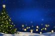 Leinwandbild Motiv weihnachtsbaum in winterlandschaft