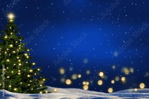 Leinwanddruck Bild weihnachtsbaum in winterlandschaft