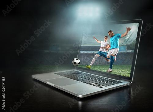 Leinwandbild Motiv Caucasian soccer Players in dynamic action with ball