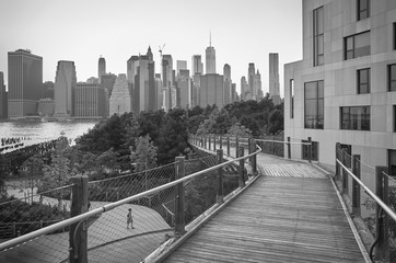 Black and white view of Manhattan seen from Brooklyn, New York City, USA.