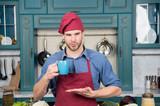 Good morning. Barista man in coffee shop. Handsome barista with morning coffee at bakers shop. For lovers of coffee - 224501899