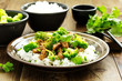 Beef with broccoli and rice. Asian cuisine. - 224502007