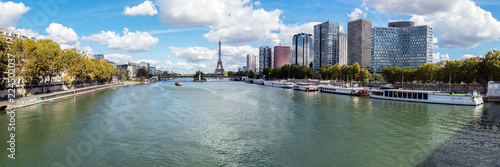 Panoramic view of Front de Seine (also known as Beaugrenelle) with Eiffel tower in background - Paris, France - 224502037
