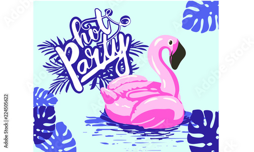 girl in the pool at the pink flamingo, abstract summer time illustration card with girl swimming on pink flamingo float in circle