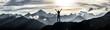 Leinwandbild Motiv Bergsteigerin am Gipfel