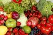 Leinwanddruck Bild - Assorted produce - bell peppers, apples, berries, blueberries