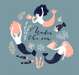 Cute hand-drawn poster design with swimming mermaids, fish and shell. Underwater background with lettering - 'Under water'. Vector illustration in hand drawn style. - 224516616