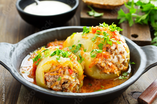 Stuffed pepper with rice and meat. - 224517032