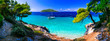 Leinwanddruck Bild - Wild beauty and best beaches of Skopelos island. Kastani beach. Sporades, Greece