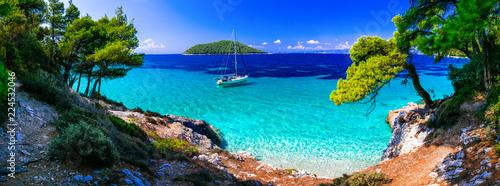 Leinwanddruck Bild Wild beauty and best beaches of Skopelos island. Kastani beach. Sporades, Greece