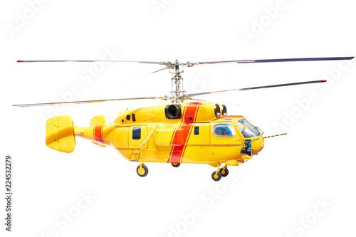 Fototapeta Yellow helicopter isolated white