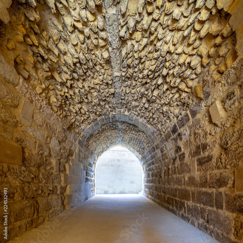 Mamluk era arched stones tunnel leading to Al-Muayyad Bimaristan (ancient hospital), Darb El Labbana district, Cairo, Egypt