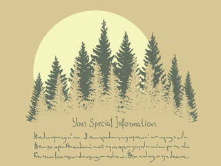 Horizontal illustration with coniferous forest and sun.