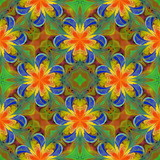Floral pattern in stained-glass window style. You can use it for invitations, notebook covers, phone cases, postcards, cards, wallpapers and so on. Artwork for creative design. - 224541229