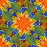 Floral pattern in stained-glass window style. You can use it for invitations, notebook covers, phone cases, postcards, cards, wallpapers and so on. Artwork for creative design. - 224541673