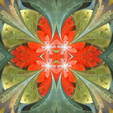 Floral pattern in stained-glass window style. You can use it for invitations, notebook covers, phone cases, postcards, cards, wallpapers and so on. Artwork for creative design. - 224542438