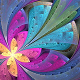 Beautiful diagonal fractal flower or  butterfly in stained-glass window style. Element of decor. Pink and blue. Artwork for creative design, art and entertainment. - 224542861