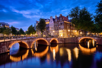 Amterdam canal, bridge and medieval houses in the evening