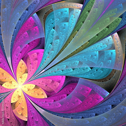 Fototapeta Beautiful diagonal fractal flower or butterfly in stained-glass window style. Element of decor. Pink and blue. Artwork for creative design, art and entertainment.