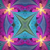 Multicolored floral pattern in stained-glass window style. You can use it for invitations, notebook covers, phone cases, postcards, cards, wallpapers and so on. Artwork for creative design. - 224543281