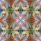 Multicolored floral pattern in stained-glass window style. You can use it for invitations, notebook covers, phone cases, postcards, cards, wallpapers and so on. Artwork for creative design. - 224543897