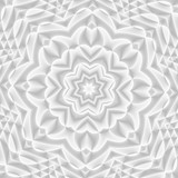 White and light grey futuristic flower pattern. Monochromatic design for backgrounds, templates, backdrops, surface, textile and fabric designs. 3d render illustration - 224546453