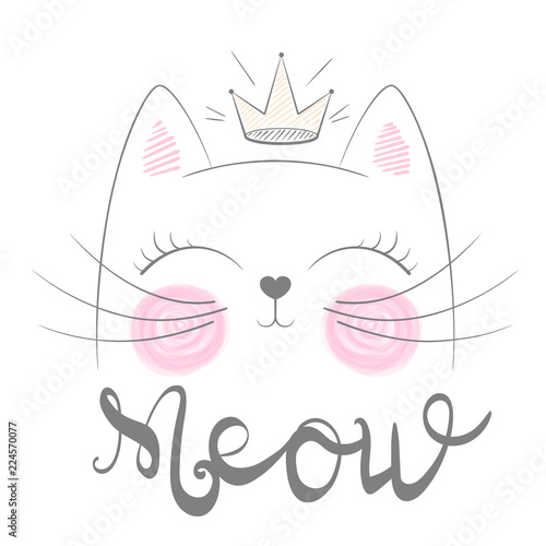 cute-cat-meow-illustration-funny-princess-and-crown-for-print-t-shirt-hand-drawn-style