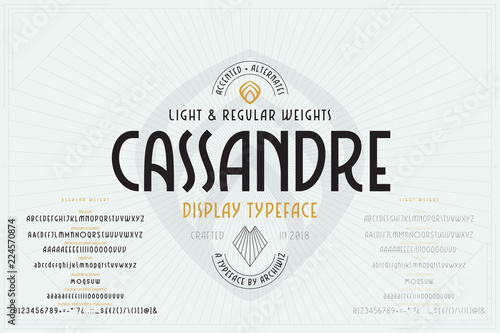 vector art deco font industrial alphabet with regular and light