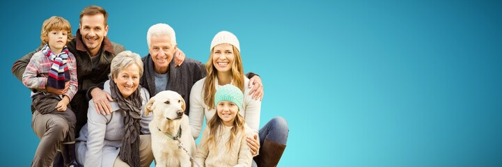 Composite image of portrait of family with dog in park