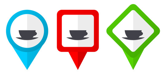 Espresso red, blue and green vector pointers icons. Set of colorful location markers isolated on white background easy to edit. © Alex White