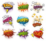 Comic explosive dynamic speech bubbles collection