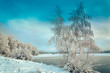 Winter landscape with trees, covered with hoarfrost and lake vie - 224597406