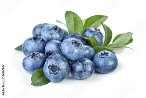 Foto Murales heap of blueberry fruits isolated on white background