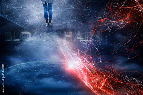 Leinwandbild Motiv Woman stands alone at conceptual colorful blockchain business cyberspace background.