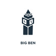 Big ben icon. Black filled vector illustration. Big ben symbol on white background.