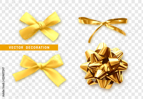 Bows color golden realistic design. Isolated gift bows with ribbons with shadow - 224617247
