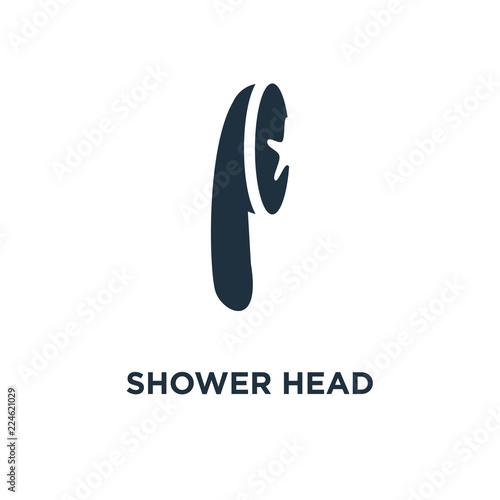 Shower Head Icon Black Filled Vector Illustration Shower Head