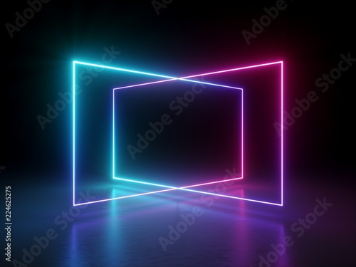 3d Render, Abstract Fluorescent Background, Laser Show, Night Club Interior  Lights, Pink