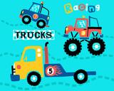Vector of trucks racing cartoon