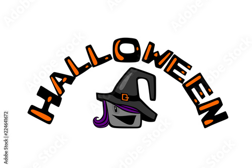 Halloween and witch .Cartoon comic color avatar with a smiling face, wearing a hat and purple hair - 224641672