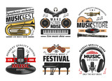 Musical instruments icons, concerts and festival